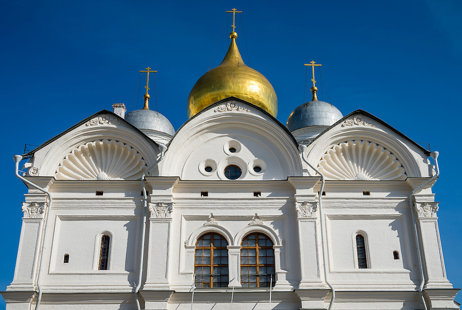 Architectural detail of the Cathedral of the Archangel in the Kremlin