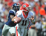 Georgia quarterback Aaron Murray (11) looks to pass at Vaught-Hemingway Stadium in Oxford, Miss. on Saturday, September 24, 2011. Georgia won 27-13.