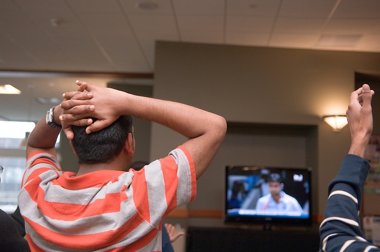 18110Student Venu Kotha watches the ICC Cricket World Cup, India vs. Sri Lanka in Baker Center on Friday, March 23rd