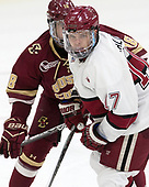 Colin White (BC - 18), Sean Malone (Harvard - 17) - The Harvard University Crimson defeated the visiting Boston College Eagles 5-2 on Friday, November 18, 2016, at Bright-Landry Hockey Center in Boston, Massachusetts.{headline] - The Harvard University Crimson defeated the visiting Boston College Eagles 5-2 on Friday, November 18, 2016, at Bright-Landry Hockey Center in Boston, Massachusetts.