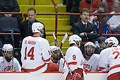 ?, Scott Garrow (Cornell - Assistant Coach), Riley Nash (Cornell - 14), ?, Tyler Roeszler (Cornell - 9), Mike Schafer (Cornell - Head Coach), ?, Joe Devin (Cornell - 22) - The University of New Hampshire Wildcats defeated the Cornell University Big Red 6-2 (EN) on Friday, March 26, 2010, in their NCAA East Regional semi-final at the Times Union Center in Albany, New York.