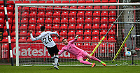 Gateshead's Patrick McLaughlin scores the opening goal from the penalty spot<br /> <br /> Photographer Andrew Vaughan/CameraSport<br /> <br /> Vanarama National League - Gateshead v Lincoln City - Monday 17th April 2017 - Gateshead International Stadium - Gateshead <br /> <br /> World Copyright &copy; 2017 CameraSport. All rights reserved. 43 Linden Ave. Countesthorpe. Leicester. England. LE8 5PG - Tel: +44 (0) 116 277 4147 - admin@camerasport.com - www.camerasport.com