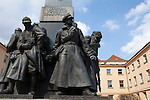 Neoclassicism and socialist realism styles of sculpture in this WW1 memorial (1932) by Czech sculptor,  Josef Mařatka, at the Emmaus Monastery in Prague, Czech Republic, Europe