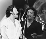 BRUCE SPRINGSTEEN and Gary US Bonds at Survival Sunday show at Hollywood Bowl 1981..© Chris Walter..