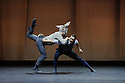 """London, UK. 20.04.2016. Balletboyz present the world premiere of their new production, """"Life"""", at Sadler's Wells before embarking on a UK tour. The production features two new commissions by Javier de Frutos (""""Fiction"""") and Pontus Lidberg (""""Rabbit""""). The dancers are: Andreu Carruciu, Bradley Waller, Edward Pearce, Flavien Esmieu, Harry Price, Jordan Robson, Matthew Rees, Matthew Sandiford, Simone Donati, Marc Galves. The piece shown is: Rabbit, by Pontus Lidberg. Photograph © Jane Hobson."""