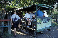 Tourists boarding the banana train operated by Feroocarril Nacional that takes tourists from La Union to the Cuero y Salado Wildlife Refuge near la Ceiba, Honduras. This railway dates back to the early 1900's and was used to transport plantation workers.