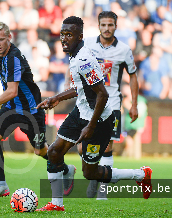 20150703 - ROESELARE , BELGIUM : Roeselare's Jesse Mputu pictured during a friendly match between Belgian second division team KSV Roeselare and Belgian first division soccer team Club Brugge , during the preparations for the 2015-2016 season, Friday 3 July 2015 in Roeselare . PHOTO DAVID CATRY