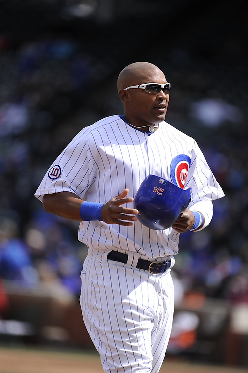 CHICAGO - APRIL  05:  Marlon Byrd #24 of the Chicago Cubs looks on against the Arizona Diamondbacks on April 5, 2011 at Wrigley Field in Chicago, Illinois.  The Cubs defeated the Diamondbacks 6-5.  (Photo by Ron Vesely) Subject: Marlon Byrd..