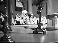Episcopal Ordination Of Desmond Connell. (R74).1988..06.03.1988..03.06.1988..6th March 1988..Following the death of Archbishop Kevin McNamara in April '87, Pope John Paul II surprisingly nominated Desmond Connell for the position of Archbishop of Dublin. The ordination of Dr Connell took place at the Pro-Cathedral in Dublin...Image shows the Papal Nuncio and the heirarchy seated behind the alter in the Pro-Cathedral.