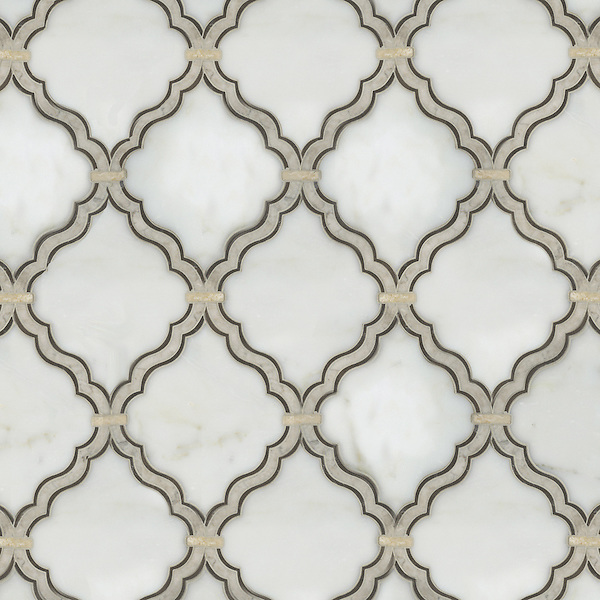 Arabesque, a waterjet stone mosaic, shown in polished Afyon White, honed Montevideo, and polished Socorro Grey.