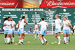 13 June 2009: Chicago's players warm up before the game. The Washington Freedom and the Chicago Red Stars played to a 0-0 tie at the RFK Stadium in Washington, DC in a regular season Women's Professional Soccer game.