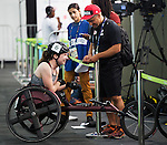 RIO DE JANEIRO - 8/9/2016:  Ilana Dupont speaks with media after competing in the Women's 100m - T53 Round 1 Heat in the Olympic Stadium during the Rio 2016 Paralympic Games. (Photo by Matthew Murnaghan/Canadian Paralympic Committee
