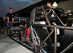 Jan. 17, 2012; Jupiter, FL, USA: NHRA top fuel dragster driver Steve Torrence moves a car chassis during testing at the PRO Winter Warmup at Palm Beach International Raceway. Mandatory Credit: Mark J. Rebilas-