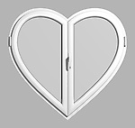 Conceptual 3D illustration of a White heart-shaped PVC window isolated on gray background