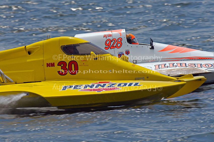 "Thom Heins, NM-30 ""Pennzoil Big Bird"" and NM-928 ""Illusion"" (National Mod hydroplane(s)"