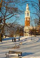The UVM Green in front of Ira Allen Chapel, Winter UVM Campus