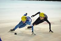 SHORTTRACK: AMSTERDAM: 05-01-2014, Jaap Edenbaan, NK Shorttrack, Jongens Junior C, Jasper Brunsmann (#34), Friso Emons (#25), ©foto Martin de Jong