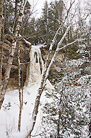 Frozen Munising Falls in Pictured Rocks National Lakeshore in Munising Michigan Upper Peninsula.