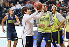 Apr. 5, 2014; Head coach Muffet McGraw watches her team practice at the Bridgestone Arena in Nashville, Tenn. Notre Dame Fighting Irish square off against Maryland Terrapins Sunday night in the national semifinal of the NCAA Final Four tournament.  Photo by Barbara Johnston/University of Notre Dame