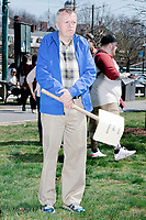 """People gather in Cambridge Common for a Tax Day protest near Harvard Square in Cambridge, Mass., on Sat., April 15, 2017. The demonstrators called for President Donald Trump to release his tax returns. Trump refused to release his tax returns during the 2016 presidential campaign, in contrast to all previous major party presidential candidates, and continues to refuse to release them. The protest was part of a larger movement nationwide called Tax March. The sign in this picture reads """"Release all your taxes."""""""