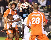 Eric Reed #23 Of the Carolina Railhawks  saves from Chris Nurse #8 of the Puerto Rico Islanders during the second leg of the USSF-D2 championship match at WakeMed Soccer Park, in Cary, North Carolina on October 30 2010. The game ended 1-1, Puerto Rico won on overall goals 3-1.