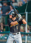 12 July 2015: West Virginia Black Bears outfielder Casey Hughston, a third round draft pick for the Pittsburgh Pirates organization, stands on deck during a game against the Vermont Lake Monsters at Centennial Field in Burlington, Vermont. The Lake Monsters rallied to defeat the Black Bears 5-4 in NY Penn League action. Mandatory Credit: Ed Wolfstein Photo *** RAW Image File Available ****
