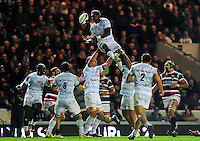 Leone Nakarawa of Racing 92 looks to claim the ball in the air. European Rugby Champions Cup match, between Leicester Tigers and Racing 92 on October 23, 2016 at Welford Road in Leicester, England. Photo by: Patrick Khachfe / JMP