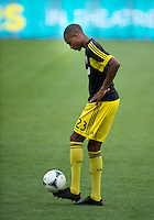 July 20, 2013: Columbus Crew midfielder Kevan George #23 during the warm-up in a game between Toronto FC and the Columbus Crew at BMO Field in Toronto, Ontario Canada.<br /> Toronto FC won 2-1.
