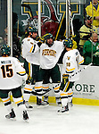 18 October 2009: The University of Vermont Catamounts celebrate a third period goal against the Boston College Eagles at Gutterson Fieldhouse in Burlington, Vermont. The Catamounts defeated the Eagles 4-1 to open Vermont's America East hockey season. Mandatory Credit: Ed Wolfstein Photo