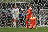 Piscataway, NJ - Saturday May 20, 2017: Lydia Williams, Cami Privett, Amber Brooks during a regular season National Women's Soccer League (NWSL) match between Sky Blue FC and the Houston Dash at Yurcak Field.  Sky Blue defeated Houston, 2-1.