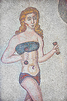 Roman mosaic detail of a young women exercising with weights from the Room of the Ten Bikini Girls, room no 30, from the Ambulatory of The Great Hunt, room no 28,  at the Villa Romana del Casale which containis the richest, largest and most complex collection of Roman mosaics in the world. Constructed in the first quarter of the 4th century AD. Sicily, Italy. A UNESCO World Heritage Site.