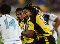 Hurricanes second five Ma'a Nonu looks to get around Rene ranger, with David Smith in support during the Super 14 rugby union match between the Hurricanes and Blues at Westpac Stadium, Wellington, New Zealand on Friday 1 May 2009. Photo: Dave Lintott / lintottphoto.co.nz