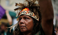 New York City, NY. 21 September 2014. An man from an Indigenous Community attend the People's Climate March, making it the largest climate march in history. Photo by Kena Betancur/VIEWpress