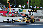 May 4, 2012; Commerce, GA, USA: NHRA top fuel dragster driver Khalid Albalooshi during qualifying for the Southern Nationals at Atlanta Dragway. Mandatory Credit: Mark J. Rebilas-