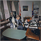 Halloween Visitors to the Oval Office of the White House in Washington, DC on October 31, 1963.  Caroline Kennedy, United States President John F. Kennedy, John F. Kennedy, Jr. <br /> Credit: White House via CNP