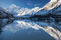 Aoraki Mt Cook & the Southern Alps reflected in Hooker Lake, with icebergs on lake.  Aoraki Mt Cook National Park, NZ.