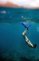 September 10th 2007- Bali, Indonesia- A young girl snorkels at a dive site known as Blue Lagoon, which is located on Bali's East coast between Padang Bai and Candidasa.  Photograph by Daniel J. Groshong/Tayo Photo Group