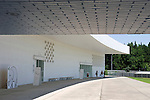 Photo shows the front of the Aomori Museum of Art in Aomori City, Aomori Prefecture, Japan on 11 July, 2001. The building was designed by Jun Aoki, the inspiration coming from the nearby Sannai Maruyama archeological site. .Photographer: Robert Gilhooly