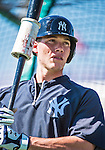 11 March 2014: New York Yankees catcher Pete O'Brien awaits his turn in the batting cage prior to a Spring Training game against the Washington Nationals at Space Coast Stadium in Viera, Florida. The Nationals defeated the Yankees 3-2 in Grapefruit League play. Mandatory Credit: Ed Wolfstein Photo *** RAW (NEF) Image File Available ***