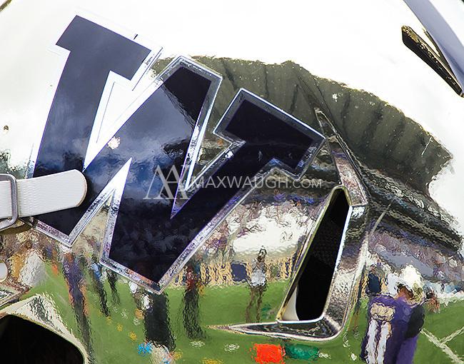 "Husky Stadium is reflected in the Husky ""chrome"" helmet."