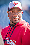 13 March 2014: Washington Nationals pitching instructor Livan Hernandez watches his team take batting practice prior to a Spring Training game against the New York Mets at Space Coast Stadium in Viera, Florida. The Mets defeated the Nationals 7-5 in Grapefruit League play. Mandatory Credit: Ed Wolfstein Photo *** RAW (NEF) Image File Available ***