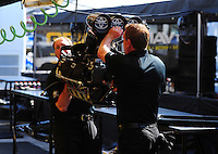 May 6, 2012; Commerce, GA, USA: NHRA crew members for top fuel dragster driver Morgan Lucas during the Southern Nationals at Atlanta Dragway. Mandatory Credit: Mark J. Rebilas-