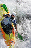Mike Abbott. Kayak downhill race in the Brandseth river. The Extremesport Week, Ekstremsportveko, is the worlds largest gathering of adrenalin junkies. In the small town of Voss enthusiasts in a varitety of extreme sports come togheter every summer to compete and play. Norway.  ©Fredrik Naumann/Felix Features.