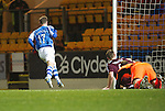 St Johnstone v Hearts..15.12.12      SPL.Steven MacLean slots home Murray Davidson's cross to make it 2-2.Picture by Graeme Hart..Copyright Perthshire Picture Agency.Tel: 01738 623350  Mobile: 07990 594431