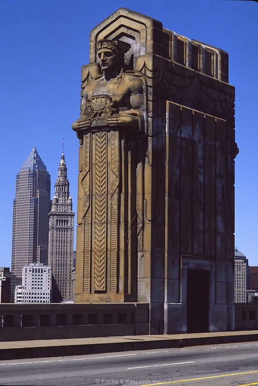 The bridge columns on the Lorain-Carnegie bridge over the Cuyahoga River in Cleveland are a local landmark.