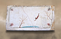 "Greek Fresco on the inside of Tomb of  the Diver  [La Tomba del Truffatore]. This panel is from the lid of the tomb and shows a  diving from a column into water. The column represents the border of thye known world and therefore the limit of man's knowledge.  The dive represents the passage form this world to the next. The tomb is painted with the true fresco technique and its importance lies in being ""the only example of Greek painting with figured scenes dating from the Orientalizing, Archaic, or Classical periods to survive in its entirety.  Paestrum, Andriuolo.  (480-470 BC  )"
