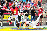 WR Levern Jacobs of the Terrapins scores a touchdown. Maryland defeated Richmond 50-21 during home season opener at the Byrd Stadium in College Park, MD on Saturday, September 5, 2015.  Alan P. Santos/DC Sports Box