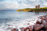 Minard Castle on bluff overlooking Dingle Bay, Dingle Peninsula, County Kerry, Republic of Ireland