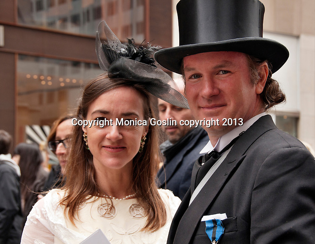 A couple dances dressed up for the Easter Day Parade in New York City on Fifth Avenue