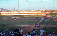 Ballparks: Adelanto, CA. Mavericks Stadium--right field from grandstand. A very light Monday evening crowd.